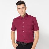 Kualitas Vm Kemeja Pria Polos Slimfit Basic Pendek Merah Marun Maroon Short Shirt Vm