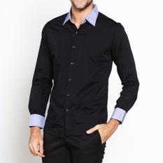 Harga Hemat Vm Kemeja Slimfit Panjang Hitam Long Sleeve Shirt Kml 131