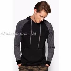 VM Sweater Jaket Reglan Hitam Pullover Hoodie