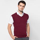 Spesifikasi Vm Sweater Rompi Rajut Merah Maroon Polos Terbaru