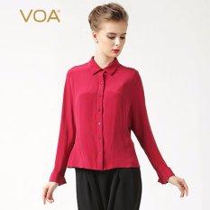 VOA Womens Sutra Panjang Batwing Lengan Blus Kerah Polo Bisnis Eropa Wanita Kemeja Merah (Ukuran: S) -Intl