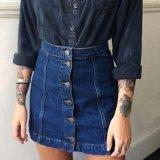 Harga Vogue Wanita Tombol Depan Mini Denim Rok Kasual Pinggang Tinggi A Line Jeans Rok Biru Tua Satu Set
