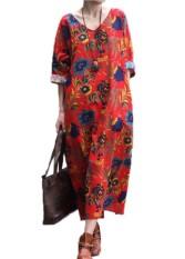 Vonda 2018 Maternity Pakaian untuk Hamil Wanita Musim Panas Kasual Longgar Cetak Katun Gamis Longgar Kehamilan Vestidos Ukuran Lebih Merah -Internasional