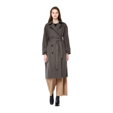 [VOV] Grey big button trendy trench long coat(7116116403)