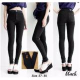 Spek Vrichel Collection Celana Panjang Highwaist Jeans Pinny Hitam