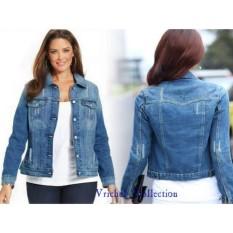 Toko Vrichel Collection Jaket Jeans Liva Jumbo Biru Tua Online Di Dki Jakarta