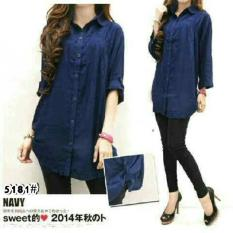 Vrichel Collection Kemeja Jumbo Polos (Navy)