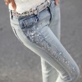 Jual Pinggang Gaun Dalam Jeans Biru Muda Kaki Wanita Long Pants Sangat Panas Lubang Bor Intl Oem