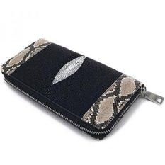 Dompet 1 Zipper Mix Stingray dan Ular Kulit untuk Bank dan Kartu Ukuran 10.5X19x2.5 Cm. -BLACK-Natural Ular Warna-Intl