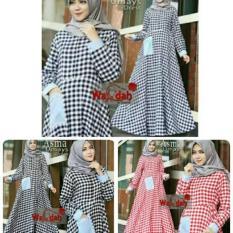 Wanda Square Maxi Dress/Gamis Kotak Kotak/Longdress Maxi Katun/Dress Muslim Katun Kotak/Gamis Katun
