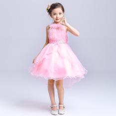 Wanita Anak Kecil Pengapit Gaun Pengantin Baju Bajang Rok Gaun (Merah Muda)
