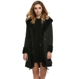 Wanita Bergaya Wanita Bertudung Hangat Musim Dingin Yang Tebal Jaket Mantel Bulu Imitasi Pakaian Luar Panjang Rak Jaket Oem Diskon 50
