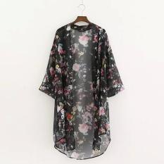 Wanita Busana Wanita 3/4 Lengan Baju 24 Buka Floral Asimetris Kampuh Leher Blus Longgar Kain Sutera Tipis