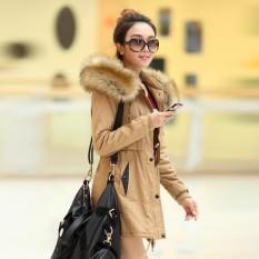 Wanita Di Bagian Panjang Lebih Tebal Hangat Kerah Bulu Pakaian Katun Baju Katun Jas (Khaki)