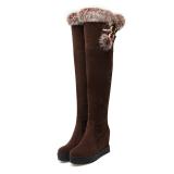 Tips Beli Wanita Fashion Di Atas Lutut Tinggi Tumit Sepatu Bot Musim Dingin Yang Hangat Dalam Knight Wedges Boots Coklat Internasional Yang Bagus