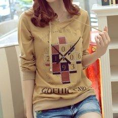 Wanita Fashion Wanita Baju Olahraga Sportsweater Hoodie Lengan Panjang Sweatshirts (Dril)