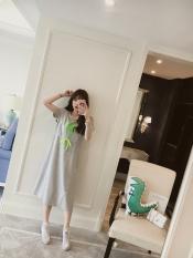 Wanita Hamil Gaun Tidur Terlihat Langsing Baju Menyusui Baju Menyusui (Abu-abu Terang)