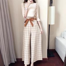 Wanita Korea Fashion Style Baru Elegan Romper Beige T Shirt Overall Kotak Kotak Terbaru