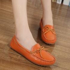 Sepatu Wanita Kulit Asli Her Datar Sweet, And Nyaman Sepatu Berjalan Sebab Penggerak Jeruk