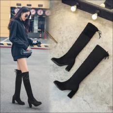 Wanita Kulit Hitam Sampai Atas Lutut Bertumit Tinggi Tebal With Sepatu Bot Tinggi Sepatu Yg Tingginya Di Atas (HITAM)
