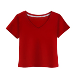 Toko In Katun Putih Lengan Pendek Wanita Kerah V Baju Dalaman Kaos V Neck Anggur Merah Murah Tiongkok