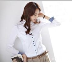 Kemeja Wanita Lengan Panjang Seragam Kerja Wanita Ukuran Besar (Putih)