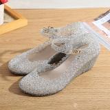 Beli Wanita Manis Sepatu Menari Sepatu Berlubang Bedak Mengkilap Perak Secara Angsuran