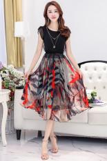 Toko Wanita Musim Panas Temperamen Ukuran Besar Rok Busana Gaun Sifon Hitam Bunga Merah Baju Wanita Dress Wanita Gaun Wanita Oem Tiongkok
