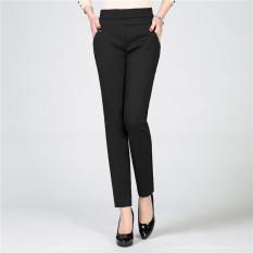 Cuci Gudang Celana Pensil Wanita Paruh Baya Wanita Paruh Baya Celana Panjang Elastis Pinggang Tinggi Hitam