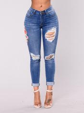 Wanita Pensil Denim Celana Seksi Kurus Lubang Peregangan Jeans Celana (Gambar Warna) baju Wanita Celana Wanita Celana Jeans Wanita