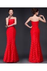 Harga Wanita Putri Duyung Sayang Renda Berlian Imitasi Lantai Panjang Gaun Pengantin Merah Termahal