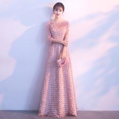 Harga Gaun Pesta Wanita Merah Muda Model Panjang Lengan Panjang Pasta Kacang Merah Bedak Pasta Kacang Merah Bedak Oem Terbaik