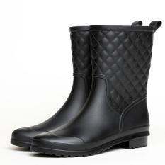 Wanita Sedang Non Slip Karet Modis Sepatu Boots Hujan Hitam Tiongkok
