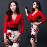 Harga Wanita Seksi Baru Perempuan Bagian Panjang Gaun Dua Potong Merah Dengan Sabuk Dan Spesifikasinya