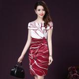Promo Wanita Setengah Panjang Model Suasana Lengan Pendek Wanita Yang Bermoral Rok Berat Sutra Murni Gaun Merah Tiongkok