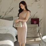 Jual Beli Fashion Wanita Baru Slim Gaun Leher Bulat Gambar Warna Gambar Warna Baru Tiongkok