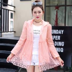 Wanita Ukuran Besar Longgar Jaket Pendek Baju Pelindung Matahari (Merah Muda)