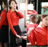 Toko Wanita Korea Fashion Style Musim Semi Baru Slim Pullover Atasan One Piece Oranye T Shirt Terlengkap Di Tiongkok
