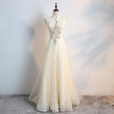 Dimana Beli Gaun Malam Kecil Stand Up Kerah Busana Pendamping Pengantin Warna Kuning Muda Perjamuan Warna Kuning Muda Oem