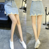 Jual Rok High Waist Jeans Wanita Gaya Korea Light Blue Rok Light Blue Rok Murah