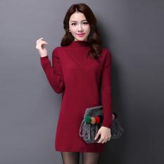 Jual Warna Solid Bagian Panjang Bottoming Kemeja Looesn Merajut Kemeja Anggur Merah Baju Wanita Baju Atasan Di Tiongkok