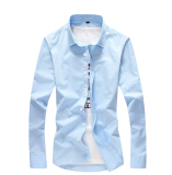 Katalog Warna Solid Bisnis Pakaian Kerja Lengan Panjang Kemeja Kemeja Putih Langit Biru Terbaru