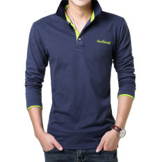 Kemeja POLO Warna Polos Memiliki Kaos Pria Lengan Panjang (Safir Biru Buah Hijau)