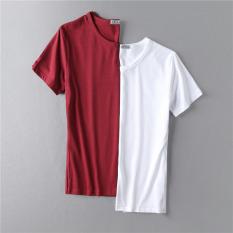 Tips Beli Baju Dalaman Warna Solid Musim Panas Siswa Kaos Lengan Pendek Leher Bulat Merah Anggur Putih Lengan Pendek Yang Bagus