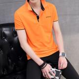 Beli Warna Solid Memiliki Kerah Turndown Polo Kemeja T Shirt Oranye Hitam Kerah