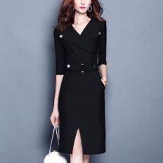 Beli Warna Solid Musim Semi Produk Baru Kerah Turndown Elegan Gaun Hitam Online Terpercaya