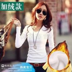 Korea Modis Gaya Tambah Beludru Warna Polos Perempuan Baju Dalaman Kaus (Satu Potong Leher-v Putih Tambah Beludru Versi) baju Wanita Baju Atasan Kemeja Wanita