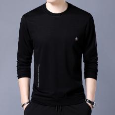 Warna Polos Pria Lengan Panjang Musim Semi atau Musim Gugur Kemeja Kecil Bawahan Kaos Sweater (Hitam Bagian Tipis 6638 kaos Sweater)