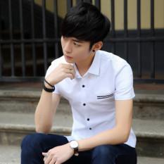 Warna Polos Pria Ramping Bisnis Kemeja Lengan Pendek Kemeja Putih (Putih) Baju Atasan Kaos Pria Kemeja Pria