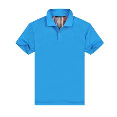Diskon Warna Solid Slim Polo Kemeja Kerah Lengan Pendek T Shirt Spot Warna Biru Akhir Tahun